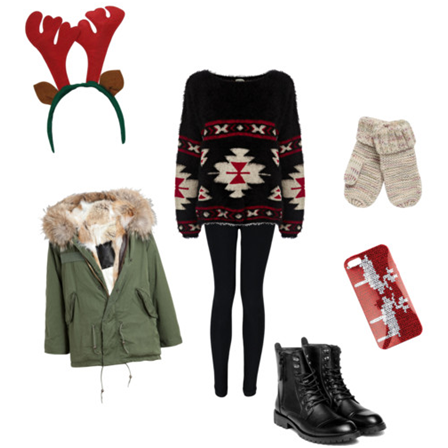 This is a cute outfit to wear to school the day before break. It also works as an outfit to wear if you're going to be outside or running errands on a snowy day. (Photo Courtesy Helena McKendrick)