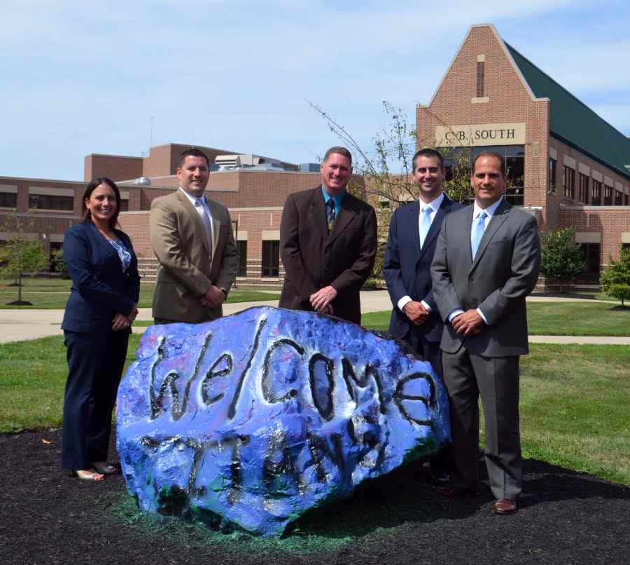 The 2014-15 C.B. South Administration (left to right): Mrs. Turner, Mr. Piselli, Mr. Miles, Mr. Bauer,  and Dr. Davidheiser. Photo via CBSD