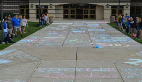 The colorful chalk mural of the CB South clubs! via CBSD