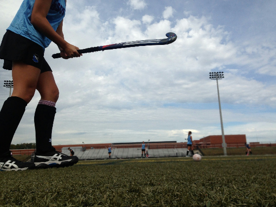 Steph Litzenberger warming up before the girls varsity field hockey game against Souderton High school. The Titans went home with a tie after a fifteen-minute overtime battle. Photo from Ally Fitts.