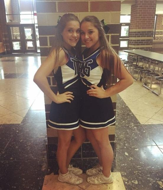 Megan Gaida (left) and Lexi Freeburger (right), two of CB South's cheerleaders